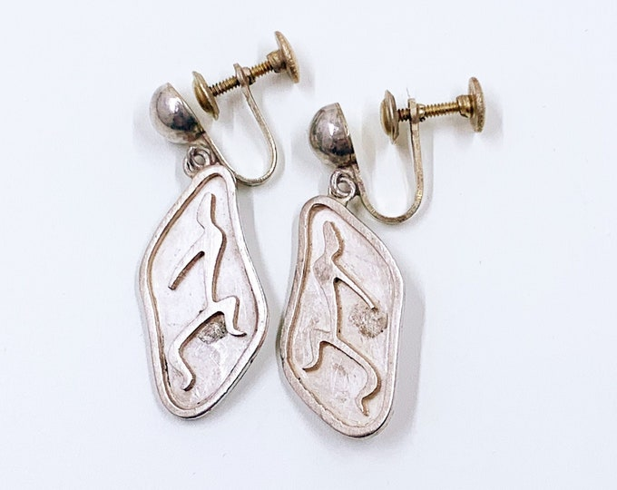 Vintage Mexican Silver Shadow Box Dancer Earrings | Vintage Taxco Sterling Earrings