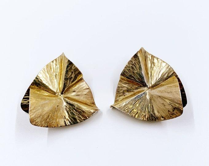 Vintage Silver Modernist Folded Earrings | Vermeil Folded Abstract Earrings