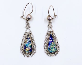 Vintage Mexican Silver Harlequin Foiled Glass Earrings | Vintage Silver Rainbow Glass Filigree Earrings