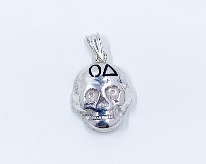 Vintage Silver Skull Pendant | Omicron Delta Skull Charm | Conversion Jewelry