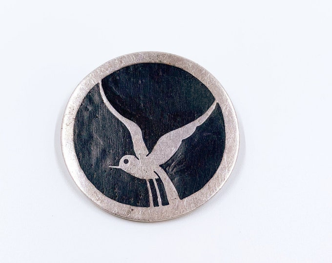 Vintage Sterling Bird Inlay Brooch | Modernist Wood Inlay Brooch | Silver Swift Brooch
