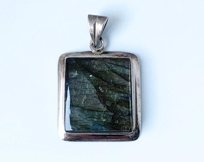 Vintage Silver Labradorite Pendant |  Large Labradorite Stone Pendant