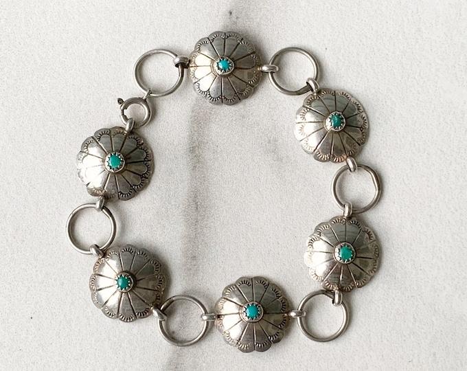 Vintage Silver Turquoise Concho Bracelet | Handmade Andrew Johnson Navajo | Native American Bracelet