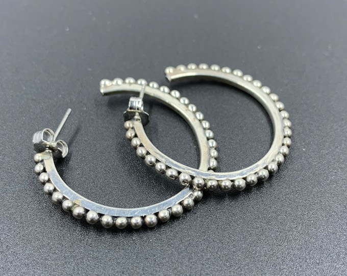 Vintage Beaded Hoop Earrings | Silver Ball Bead Half Hoop Earrings