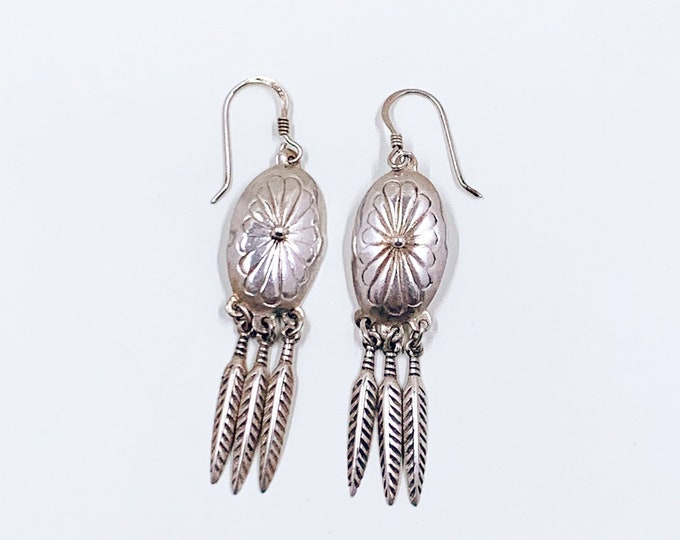 Vintage Silver Concho and Feather Earrings | Southwest Silver Feather Fringe Earrings