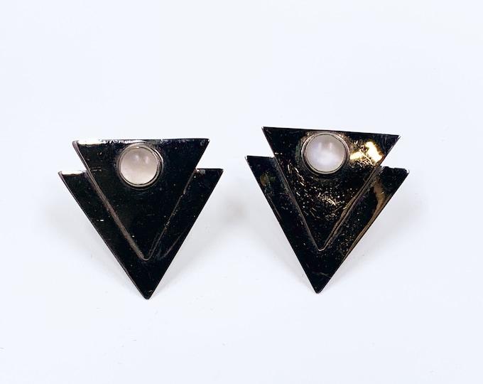 Vintage Silver GFMW Modernist Triangle Moonstone Earrings | Great Falls Metal Works Earrings