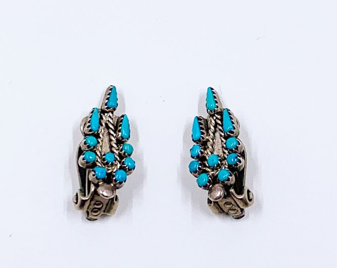 Vintage Turquoise Cluster Earrings | Petit Point Cluster Earrings | Turquoise Clip On Earrings