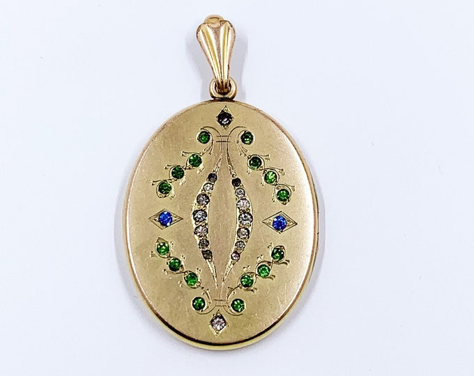 Victorian Gold Filled Oval Paste Locket | Large W&H Co Locket | Blue, Clear and Green Paste Stones