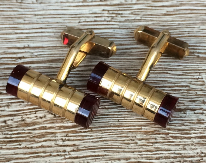 Vintage Swank Barrel Cufflinks | Modernist Design