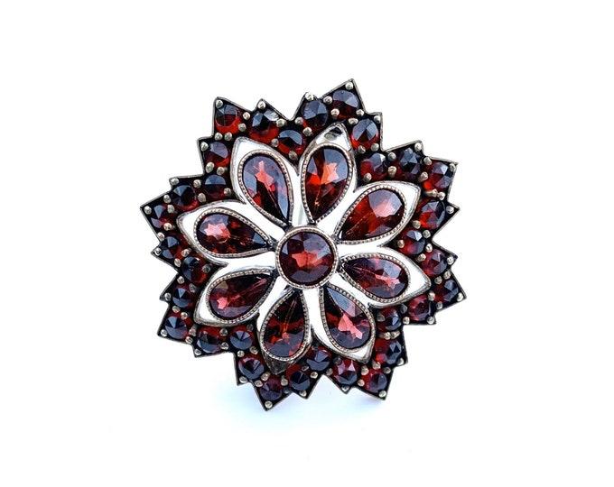 Victorian Garnet Flower Cluster Brooch | Rose Cut Garnet Brooch