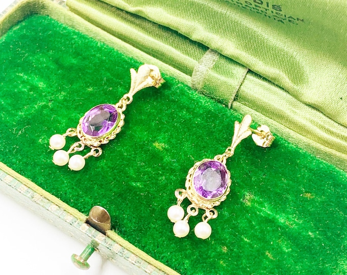 Vintage 14k Gold Amethyst and Pearl Dangle Earrings | Classic Pearl Earrings | 14K Pearl Earrings | February Birthstone