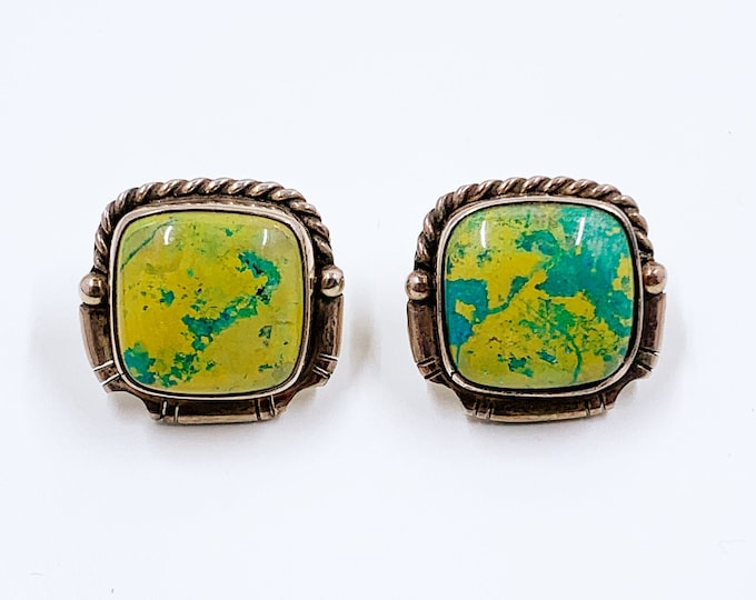 Vintage Silver Yellow and Blue Stud Earrings | Silver Multicolor Southwest Style Earrings