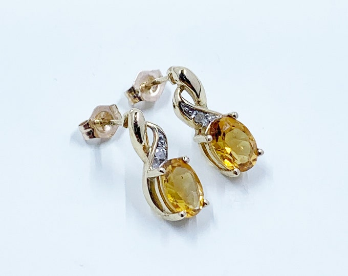 Vintage Gold Yellow Stone Stud Earrings | 10K Gold Stud Earrings | Yellow Stone and Diamond Earrings
