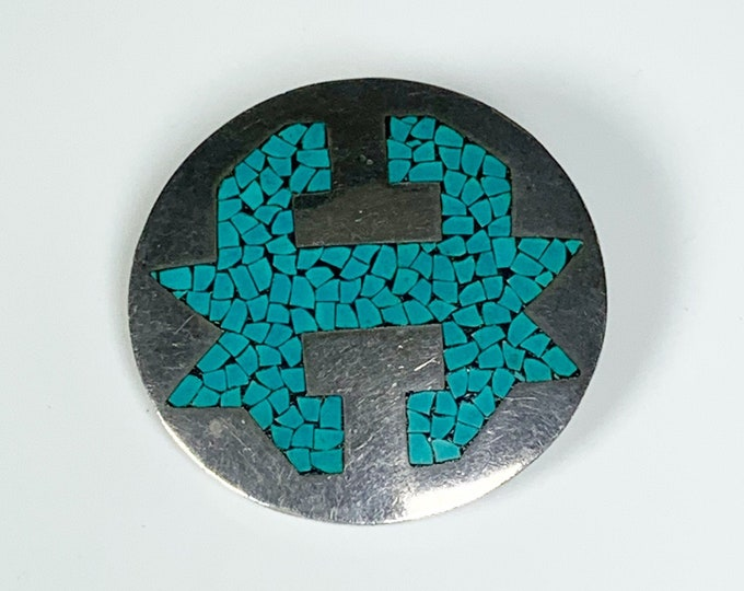Vintage Mexican Inlay Brooch | Arte En Plata Silver Modernist Brooch and Pendant | Micro Mosaic Inlay