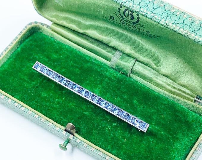 Art Deco Silver Blue Glass Bar Brooch | Sterling Silver Bar Brooch