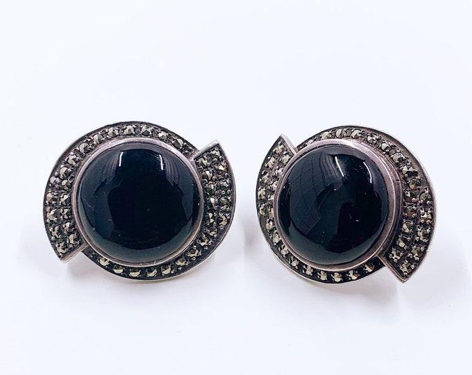 Vintage Art Deco Style Onyx and Marcasite Earrings | Sterling Heirloom 73 Earrings | Vintage Creations