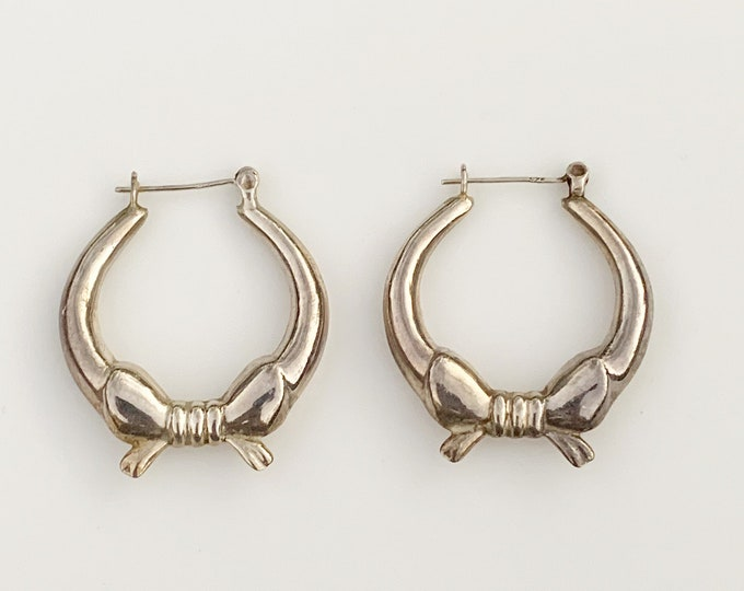 Vintage Silver Bow Hoop Earrings