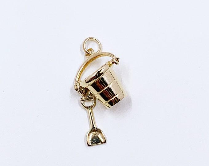Vintage 14k Gold Sand Pail & Shovel Charm | 14K Gold Bucket and Shovel Pendant | Moveable Charm