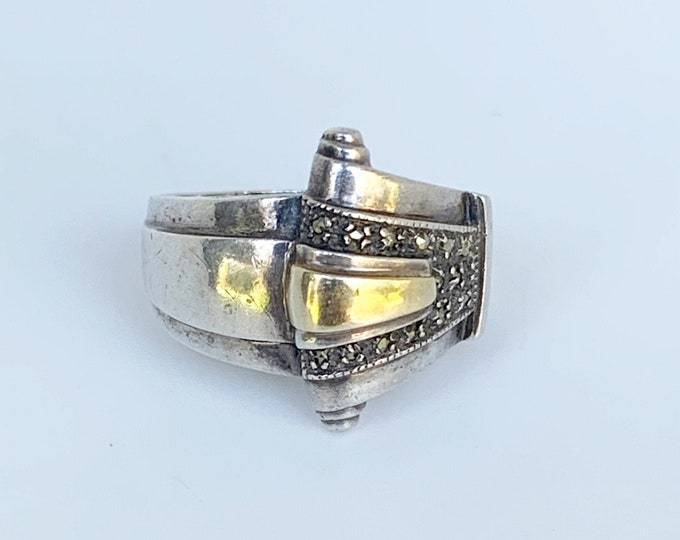Vintage Art Deco Silver and Gold Tank Ring | Vintage Geometric Buckle Marcasite Ring | Size 7 1/4 Ring