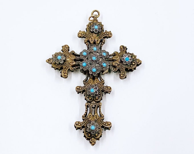 Vintage Victorian Revival Double Sided Filigree Cross | Marcasite and Turquoise Blue Glass | Large Ornate Cross Pendant