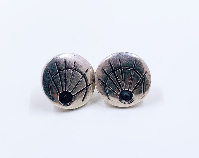 Vintage Modernist Silver Earrings | Geometric Abstract Line Earrings