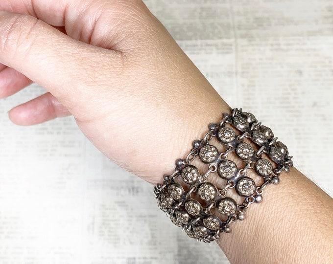 Vintage Silver Wide Chain Link Bracelet | 835 Silver Repousse Bracelet