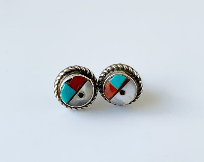 Vintage Silver Sunface Stud Earrings | Southwest Multi-stone Inlay Earrings