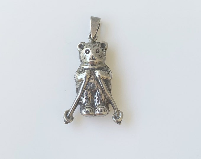 Vintage Silver Skiing Bear Charm