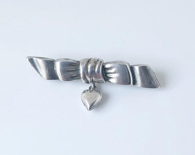 Victorian Ribbon and Dangle Heart Brooch | Silver Dangling Heart Brooch | Sterling Birmingham England