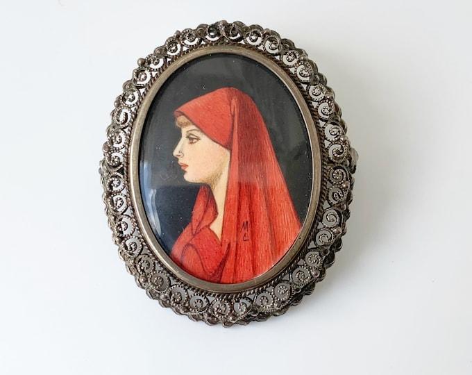 Vintage Hand Painted Miniature Brooch | Saint Fabiola Pendant Brooch | 800 Silver Brooch