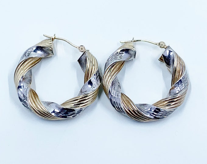 Vintage Two Tone Twisted Hoop Earrings | Gold Filled and Silver | Patterned Twisting Hoops