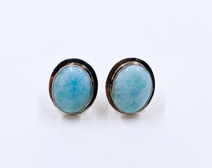 Vintage Silver Larimar Earrings | Silver Oval Larimar Stud Earrings