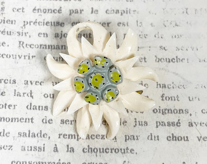 Vintage Edelweiss Carved Brooch | Hand Painted Edelweiss