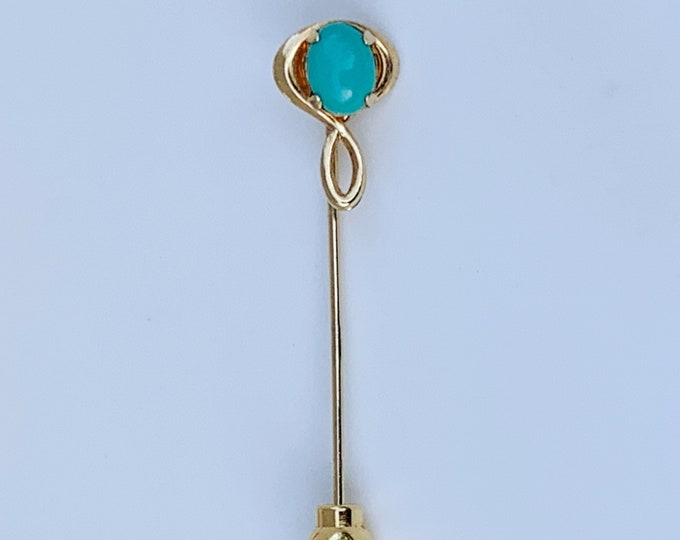 Vintage Faux Turquoise Stick Pin | Gold Filled Stick Pin