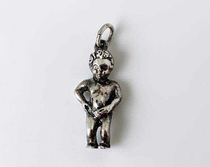 Vintage Silver Manneken Pis Charm | Brussels Belgian Travel Charm | Belgium Peeing Boy Landmark