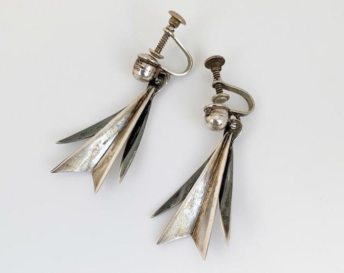 Vintage Mexican Silver Modernist Earrings | Silver Mexican AEM Earrings