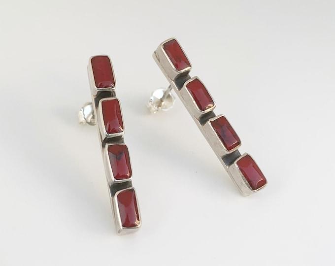 Silver Red Jasper Rectangle Earrings |  Silver Jasper Bar Earrings