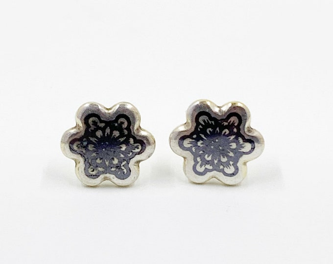 Silver Niello Flower Stud Earrings | Russian Niello Floral Earrings