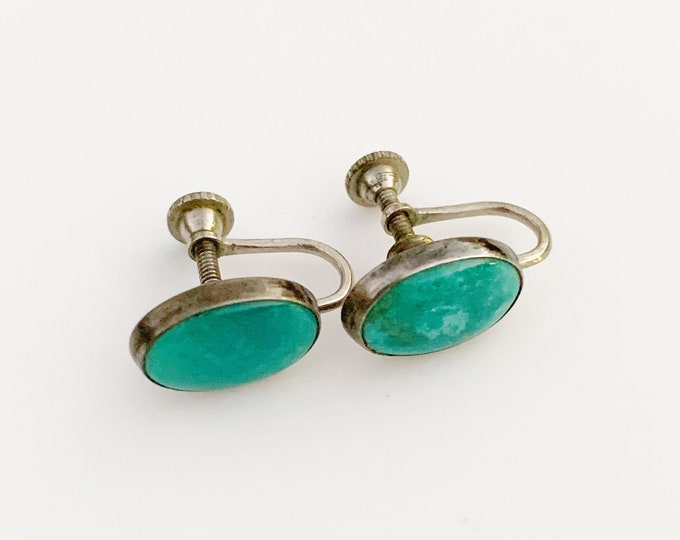 Vintage Silver Turquoise Screw Back Earrings