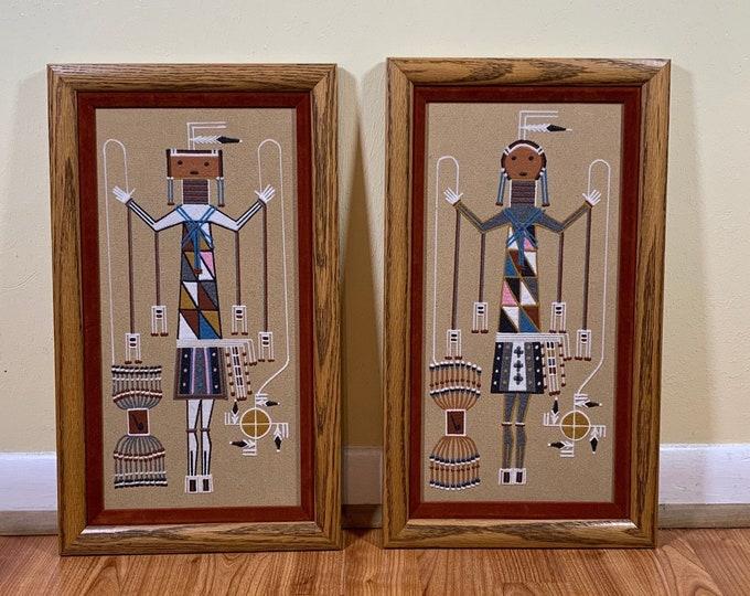 Vintage Juanita Stevens Sand Painting Set | Holy Boy and Holy Girl Navajo | Shooting Way Chant Sand Art | Framed Navajo Sand Painting