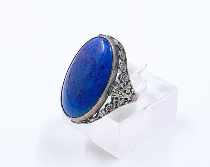 Antique Art Deco Blue Glass Filigree Ring | Filigree Sterling Silver Ring | Size 4 1/2 Ring