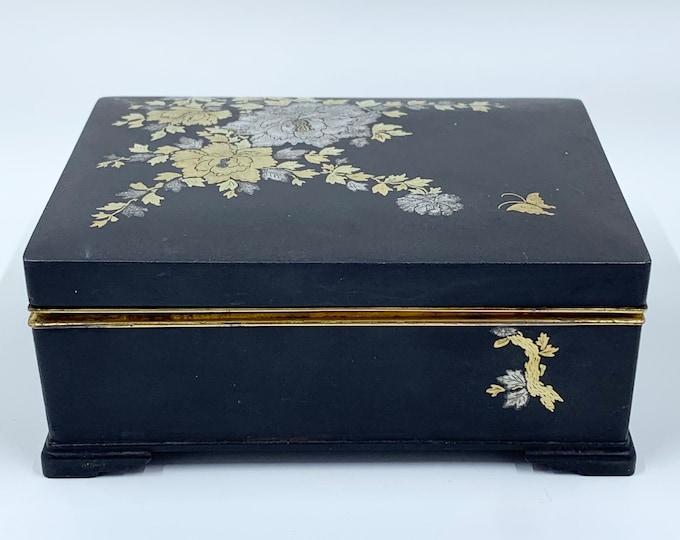 Vintage Japanese AMITA Damascene Iron Box | Amita Japan Damascene Komai Style Box | Gold and Silver Inlay