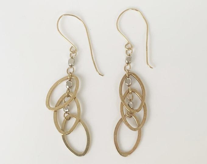 Vintage Gold Two Tone Drop Earrings    14K Oval Drop Dangle Earrings