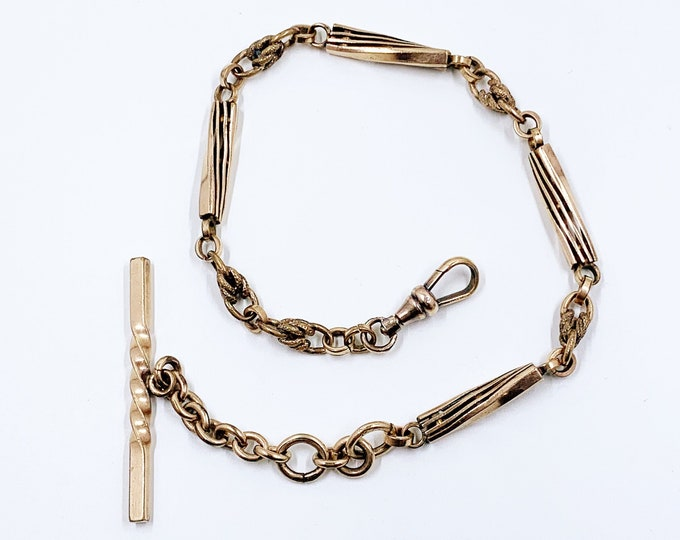Antique Gold Filled Watch Fob Specialty Chain | Pocket Watch Chain T Bar | 11 6/8 inch Elongated Link Watch Chain
