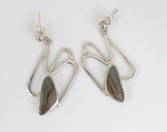 Silver Picture Jasper Earrings   Picture Jasper Modernist Earrings