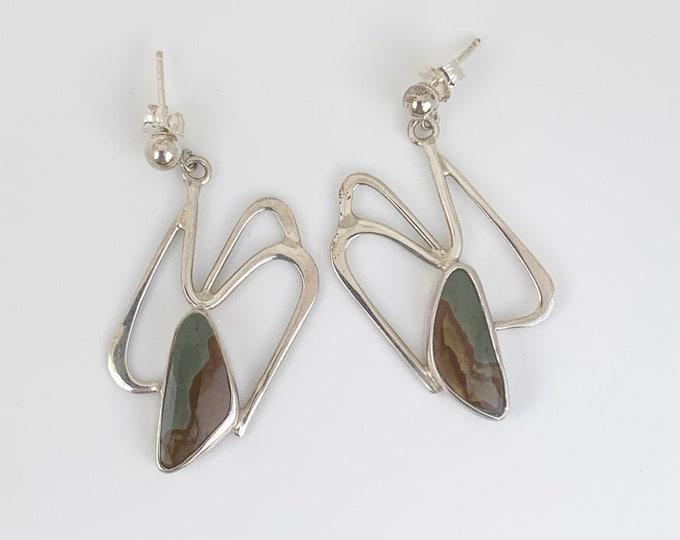 Silver Picture Jasper Earrings | Picture Jasper Modernist Earrings