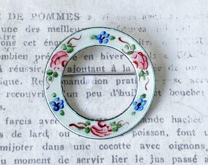 Vintage Silver Circle Flower Enamel Brooch
