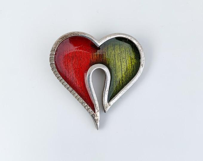 Vintage Enamel Heart Pendant