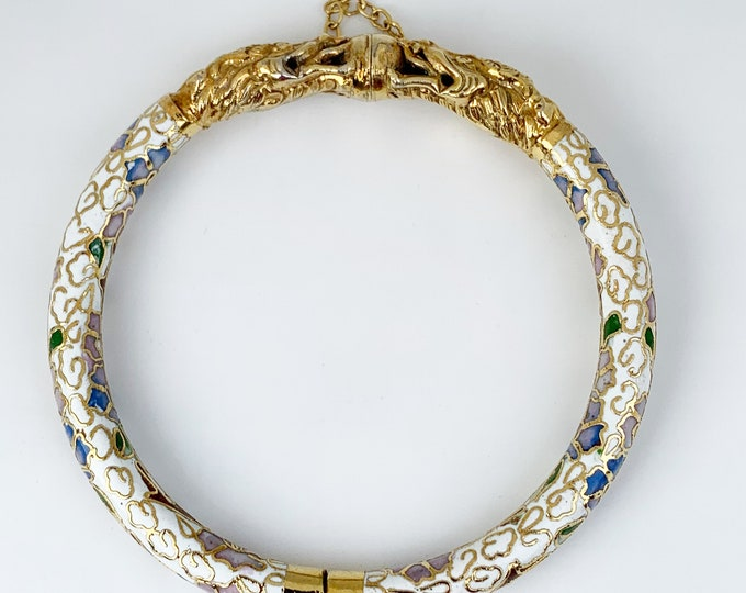 Vintage Cloisonne Enamel Dragon Bangle Bracelet |  White Enamel Bangle | Double Dragon Clasp Bracelet