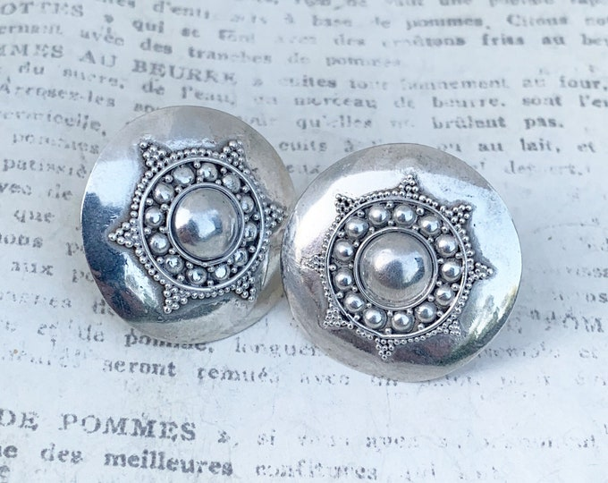 Granulated Silver Disc Earrings   Ethnic Silver Round Earrings